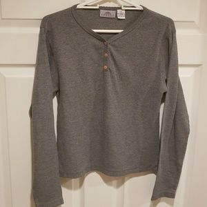 Ribbed button top long sleeve sweater